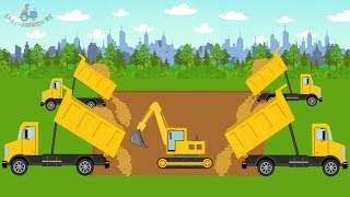 Excavator & Trucks | Bulldozer & Road Roller | Building an Amusement Park for kids | Park Rozrywki