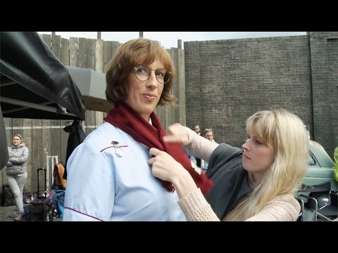 Miranda Hart and Helen George keep busy on-set - Call the Midwife: Series 4 - BBC One