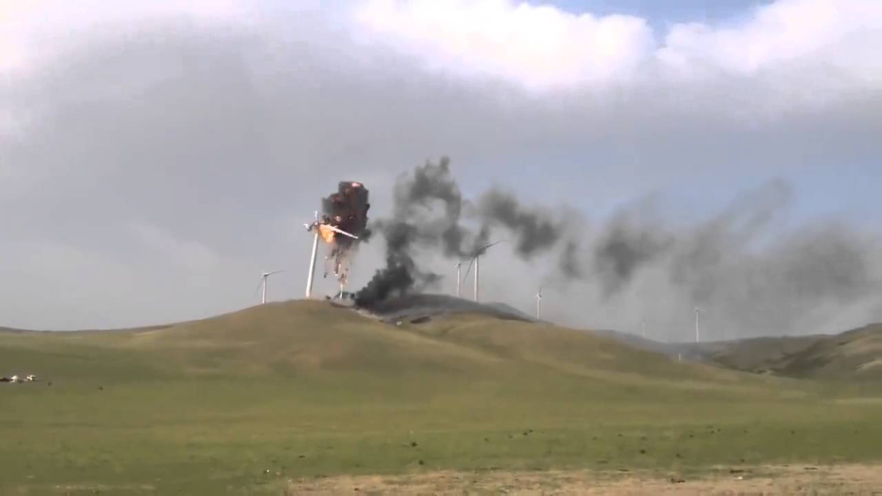 Cool Footage Of Wind Turbine Disintegrating In An Epic Fiery Blaze