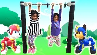 Family Fun Playtime at the Playground with Chase and Egg Surprise Toys