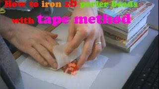 How to iron 2D perler beads with tape method