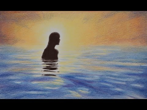 How to Draw a Seascape With Girl in Color Pencils