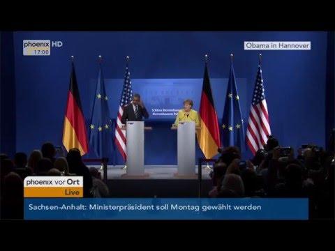 Obama-Besuch in Hannover: Pressekonferenz mit Angela Merkel und Barack Obama am 24.04.2016