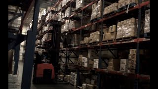 C&S Wholesale Grocers. Forklift, racking freight.