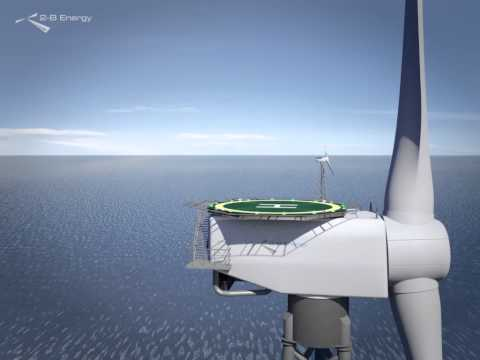 2-B Energy - Flight through animated offshore wind farm