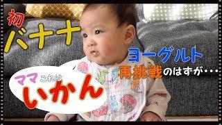 【もぐもぐ期】バナナに衝撃 ヨーグルトにも再挑戦 離乳食 生後7ヶ月の赤ちゃん みはるんchannel