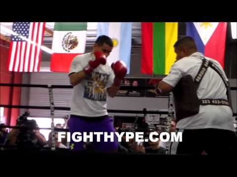MARCOS MAIDANA WORKS THE MITTS IN PREPARATION FOR FLOYD MAYWEATHER