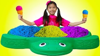 Wendy Pretend Play Learn Colors with Kinetic Sand Rainbow Ice Cream Kid Toys