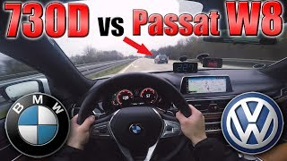 BMW 7 Series 2017 meets VW Passat W8 on German Autobahn ✔