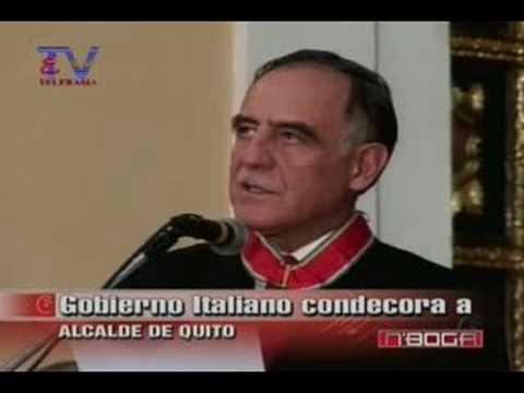 Gobierno Italiano condecora a Alcalde de Quito