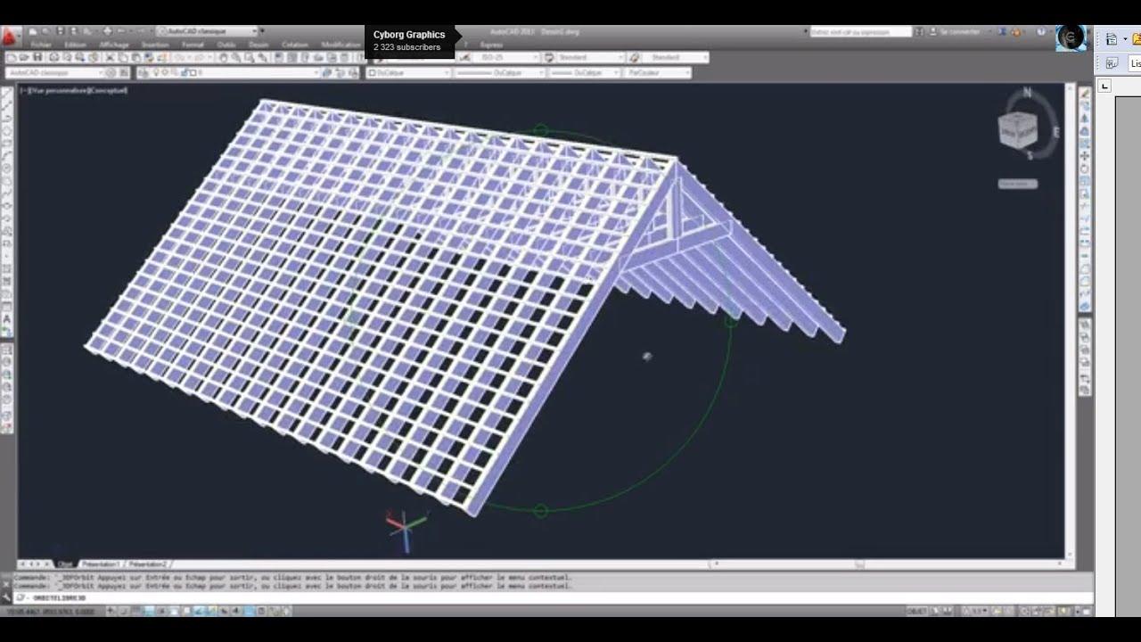 autocad 2013 mod lisation charpente toiture tutoriel youtube. Black Bedroom Furniture Sets. Home Design Ideas