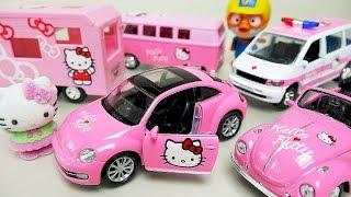 Hello Kitty car toys camping car and ambulance with Poli mini cars