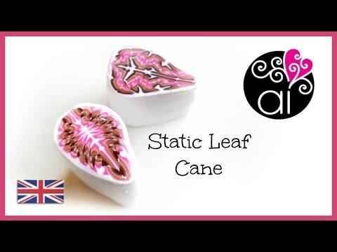 Static Leaf Cane    Polymer Clay Tutorial   Millefiori Cane DIY   English Version