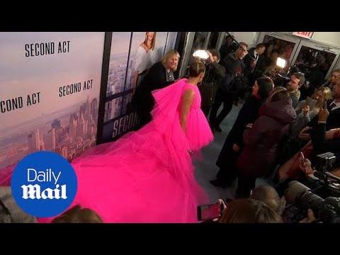 Jennifer Lopez stuns with hot pink dress at Second Act premiere