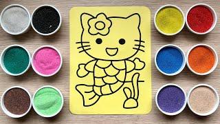 Đồ chơi trẻ em TÔ MÀU TRANH CÁT TIÊN CÁ HELLO KITTY - Sand painting Hello Kitty Toys Kids