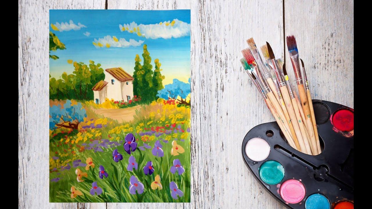 Как рисовать цветы гуашью поэтапно для начинающих видео