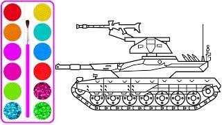 Xe tăng bọc thép cho bé vẽ | Dạy bé vẽ | Dạy bé tô màu | Realistic Tank Drawing and Coloring