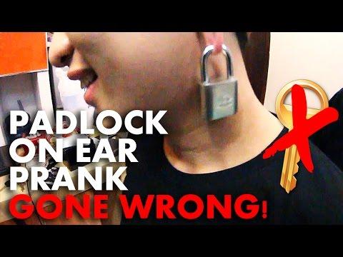 PADLOCK ON EAR PRANK GONE WRONG!