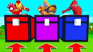 DO NOT CHOOSE THE WRONG CHEST! (IRON MAN, THANOS, SPIDERMAN) (Minecraft PE)