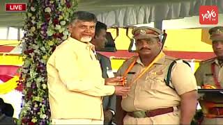 CM Chandrababu Medals Presentation to AP Police at Independence Day Celebrations
