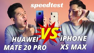 SPEEDTEST iPHONE XS MAX VS HUAWEI MATE 20 PRO: iPHONE BỊ HUỶ DIỆT???