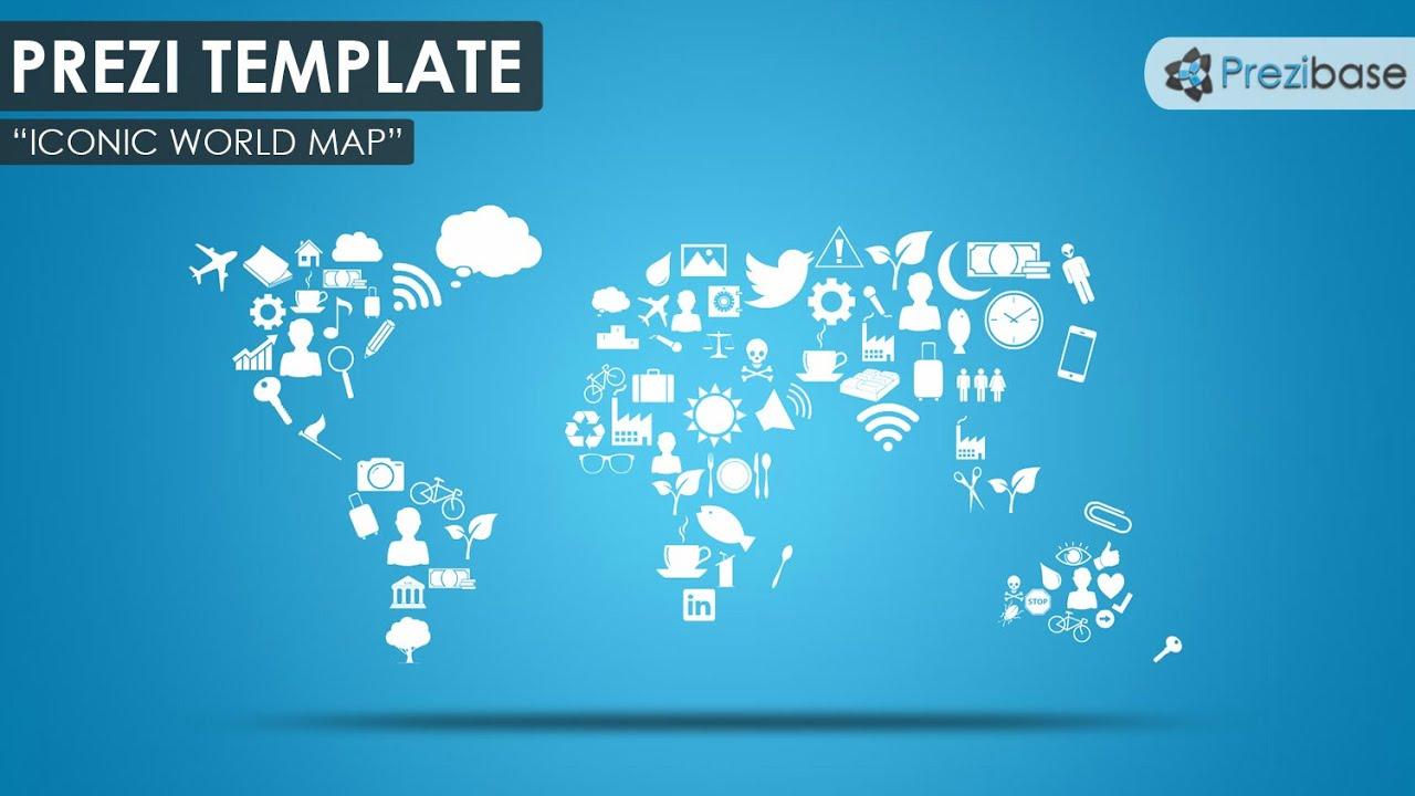 World Map Icons Prezi Template Youtube