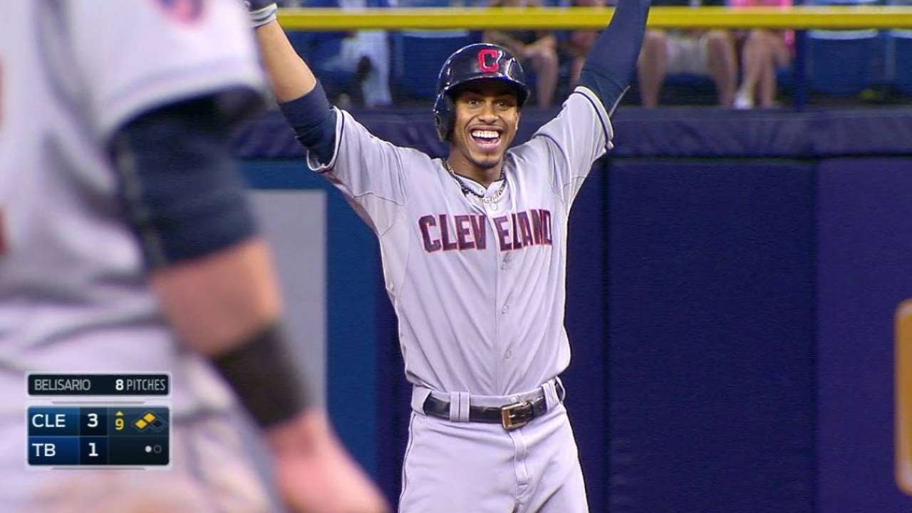 CLE@TB: Lindor smacks his first Major League double