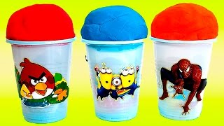 Play-Doh Ice Cream Cone Surprise Eggs Minions Spiderman Angry Birds