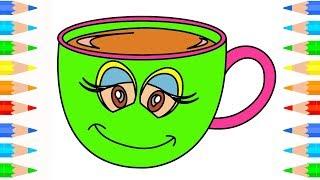 Juego de té taza de dibujo y páginas para colorear l Video Educativo para Niños