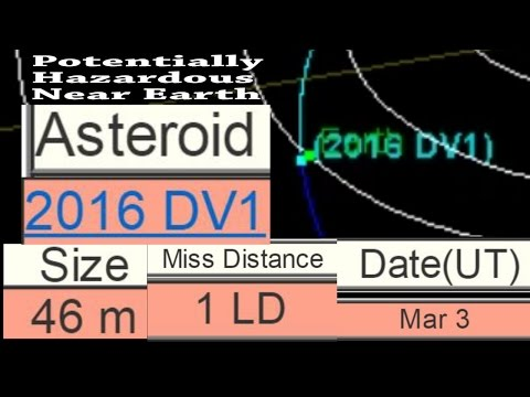 Potentially Hazardous Near Earth Asteroid 2016 DV1 to pass Earth 1 LD on March 3rd
