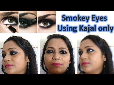 How to get smokey eye using Kajal only - DIY - easy step by step tutorial for beginner