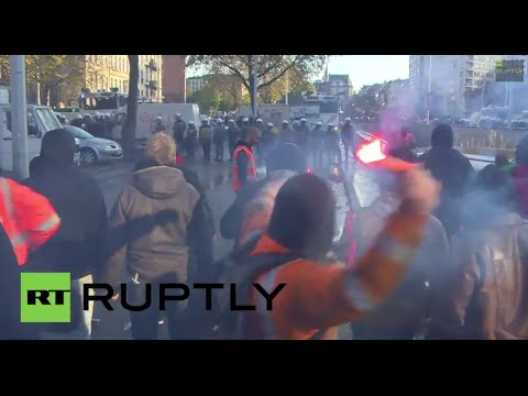 Belgium: Watch riotous scenes in Brussels anti-austerity protest
