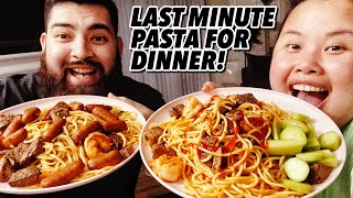 SPICY GARLIC BUTTER SHRIMP AND STEAK SPAGHETTI PASTA MUKBANG 먹방 EATING SHOW!