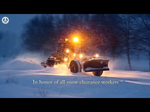 Snowstorm in North sweden 2015 snow clearing