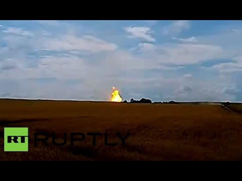 RAW: 200m high Russia/Ukraine gas transit pipeline inferno