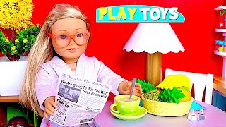 American Girl Doll Play Doh Cookie Baking! 🎀 Play with Baby Doll Kitchen Toys!