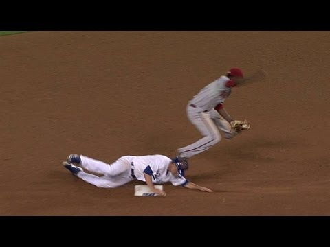 6/11/13: After benches cleared on his hit-by-pitch, Zack Greinke slides hard into second base on Skip Schumaker's ground ball Check out http://MLB.com/video ...