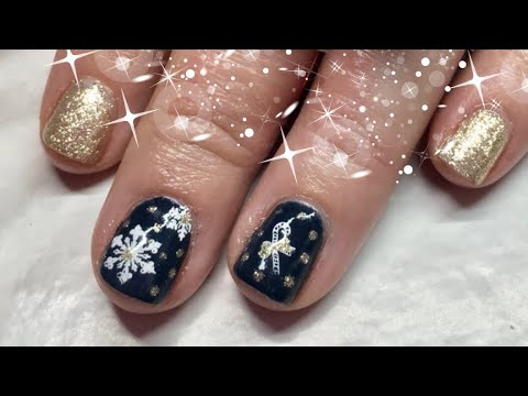 Christmas Design done on Short Natural Nails
