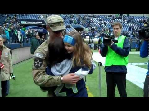 U.S. Army Soldier Surprise Homecoming Veterans Day Seahawks Game!