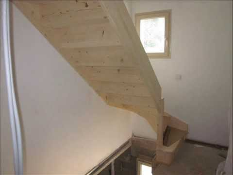 pose escalier bois 1 quart tournant et cloison ba 13 youtube. Black Bedroom Furniture Sets. Home Design Ideas
