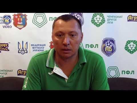 Старший тренер Нива-В (Вінниця) Юрій Солов'єнко на післяматчевій прес-конференції 9 вересня 2017