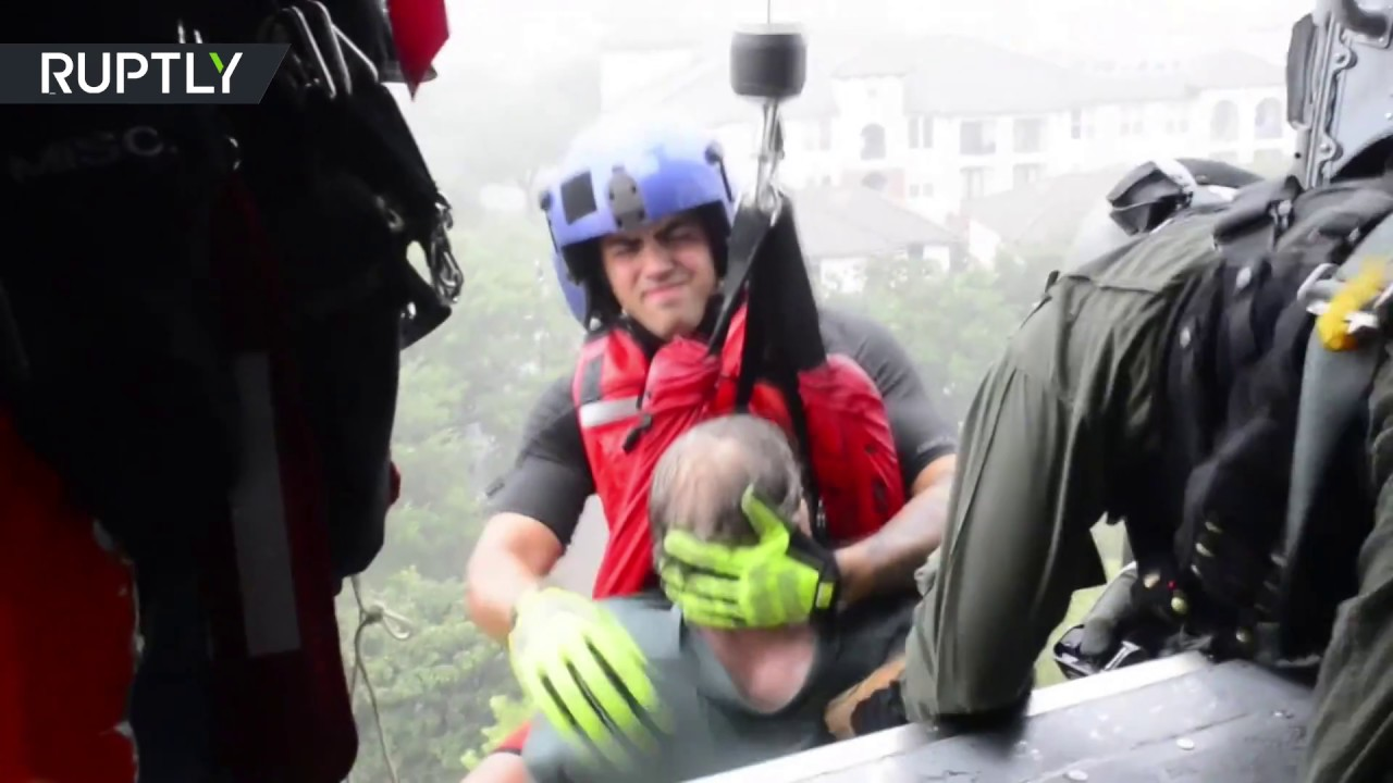 Texans rescued by helicopters from flooding after Hurricane Harvey