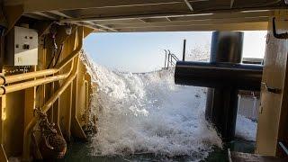 Sea tug Elbe in rough sea from Maassluis to Hamburg