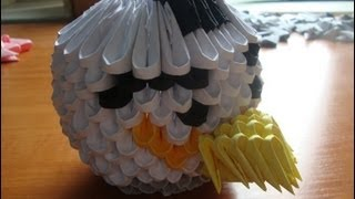 3d Origami White Angry Bird