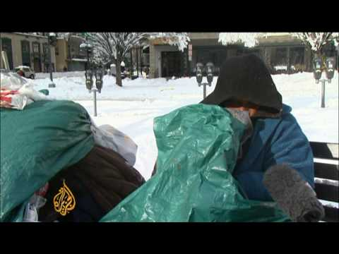 US snow storm hits DC homeless