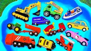 Cars for kids, Toys review and learning name and sounds Excavator, Taxi, Construction vehicles toy