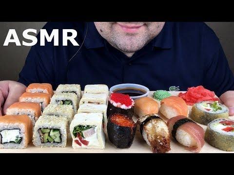 ASMR SUSHI & SUSHI ROLLS PARTY (Eating Sounds) BIG BITES *No Talking*