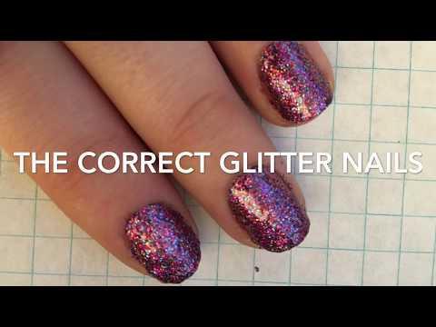 The correct glitter nails