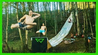 EPIC 100ft SLIP and SLIDE JUMP through FOREST