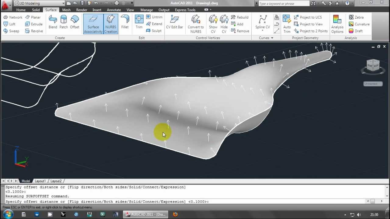 Autocad 3d Surface Modelling By Network Dustpan Youtube